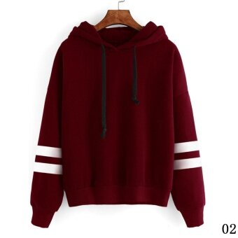 Fashion Womens Hoodie Sweatshirt Jumper Hooded Pullover Tops BlouseLong Sleeve Coat - Wine Red - intl