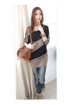 Fashionstory เสื้อยืดตัวหลวมแขนยาวแขนค้างคาว (สีน้ำตาล/ดำ) (image 1)