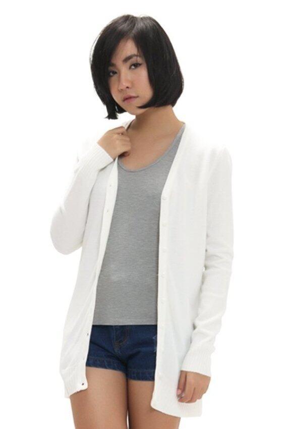 Fashionstory เสื้อคลุมไหมพรมคาดิแกนตัวยาว - สีขาว