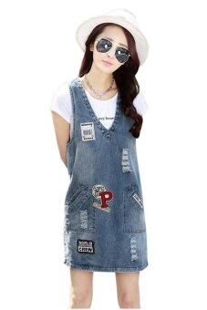 fashionstory ชุดเอี๊ยมกระโปรงยีนส์แฟชั่นเกาหลีสุดชิค