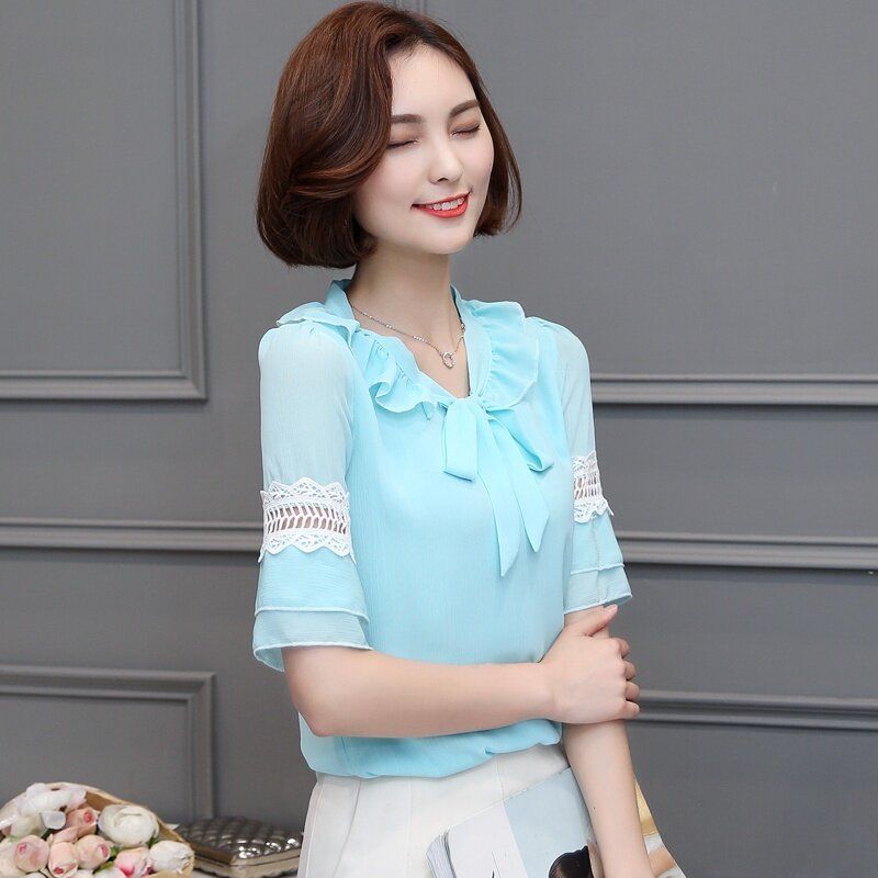 เกาหลีแขนแตร flounced ชีฟองเสื้อเสื้อชีฟอง (สีฟ้า)