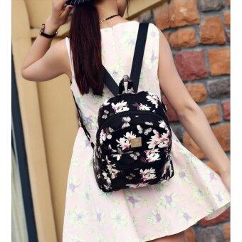 กระเป๋าเป้ สไตล์เกาหลี กระเป๋าแฟชั่นผู้หญิง Flower (ฺBlack) - 4