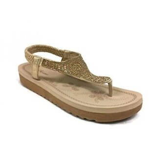 Forever Fashion IRENA Womens Crystal Sandal Comfort Platform Slip On Flip Flip Gold 7 - intl