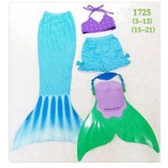 Friendly 4 Kid ชุดว่ายน้ำ หางนางเงือก เซ็ต 4 ชิ้น เสื้อ+กางเกง+หาง+ฟิน สีฟ้า