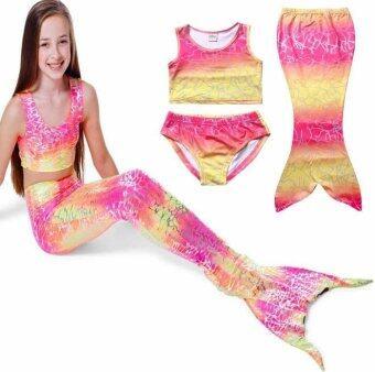 Friendly 4 Kid ชุดว่ายน้ำ หางนางเงือก เซ็ต 3 ชิ้น รุ่นเสื้อกล้าม สีชมพู+กางเกงใน+หางเปิด