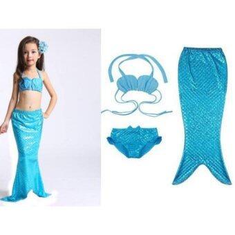Friendly 4 Kid ชุดว่ายน้ำ ชุดนางเงือก เซ็ต 3 ชิ้น เสื้อสีฟ้า+กางเกงใน + กระโปรงหางนางเงือก สีฟ้า