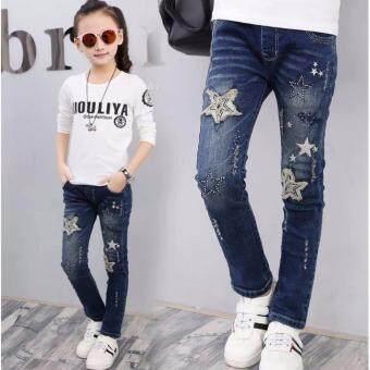 Friendly 4 Kid กางเกง: กางเกงยีนส์ขายาว ปักดาว