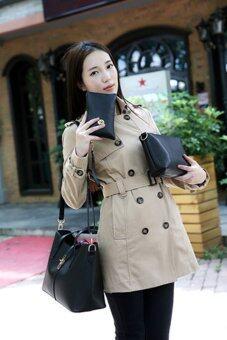 FTshop เซ็ต 3 ใบ กระเป๋าสะพายข้าง กระเป๋าสตางค์ผู้หญิงกระเป๋าแฟชั่น กระเป๋าถือผู้หญิงรุ่น40c(สีดำ) - 4