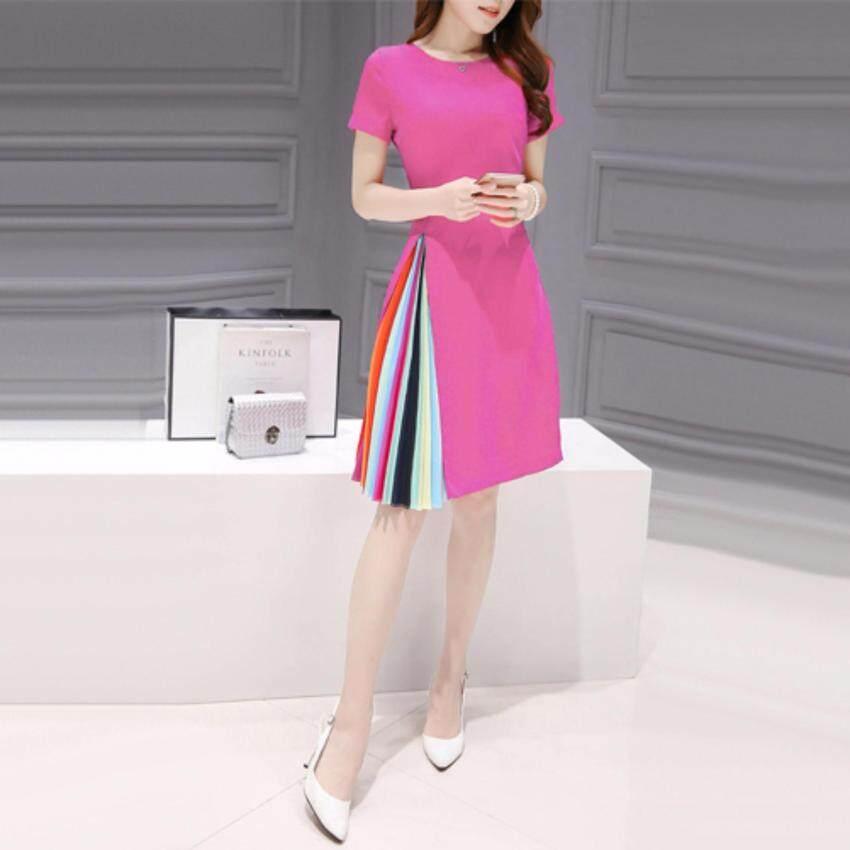 FTshop เสื้อผ้าแฟชั้น เดรสแฟชั่น เดรสกระโปรง เดรสผู้หญิง เดรสยาว เดรส size : XL 39x98x82 ยาว99 Dresses0007-XL/Dpink(สีชมพูบานเย็น)