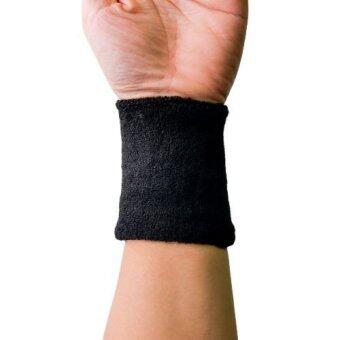 G2G ปลอกรัดข้อมือซับเหงื่อ สำหรับออกกำลังกาย สีดำ จำนวน 1 ชิ้น
