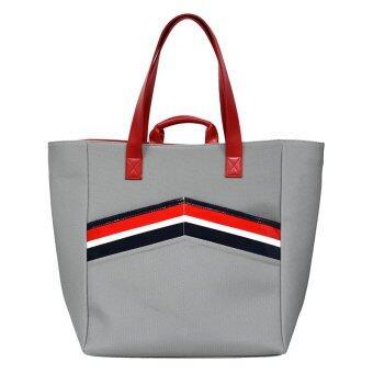 GALAXY กระเป๋าถือ สะพายข้าง สายหนัง (สีเทา-แดง)