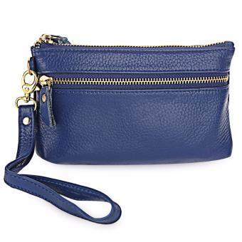 Genuine Leather Solid Color Wrist Bag Coin Purse for Women - intl
