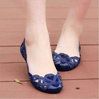 Harga George Store Hot Sell Fashion Women Casual Flats Shoes CrystalJelly Hollow Slip-on Sandals Flip Flops BLUE - intl