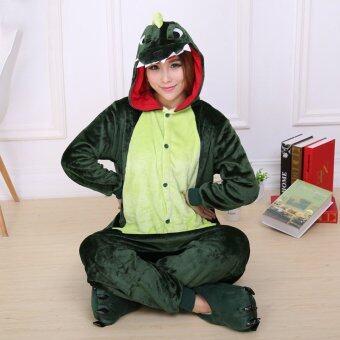 GETEK Dinosaur Adult Unisex Pajamas Cosplay Costume Onesie Sleepwear S-XL (Green)