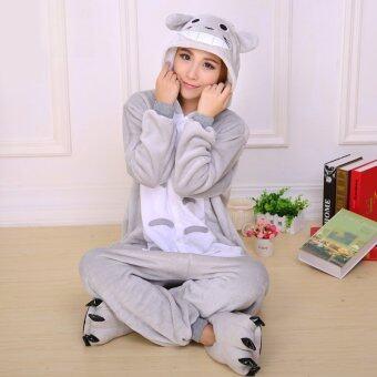 GETEK Totoro เพื่อนบ้านผู้ใหญ่เพศแต่งชุดนอนชุดนอนคอสเพลย์ Onesie S-XL (สีเทา)