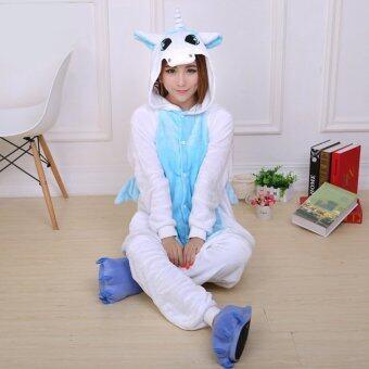 GETEK Unicorn Adult Unisex Pajamas Cosplay Costume Onesie Sleepwear S-XL (Blue)