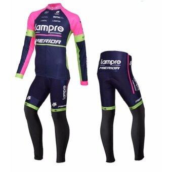 GF Lampre merida ชุดปั่นจักรยานลายทีม ชุดยาว (สีม่วง/ดำ) - 2