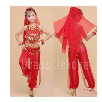 Girls Dresses Princess Children Dancing ชุดเต้น ชุดงานเลี้ยง ชุดแฟนซีเด็ก ชุดเด็กผู้หญิง ชุดอินเดีย ชุดอาลาดิน พร้อมเครื่องประดับ รุ่น A LA DIN - เซ็ท 7 ชิ้น ( สีแดง )