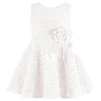 Girls Sleeveless Lace Dress (White)