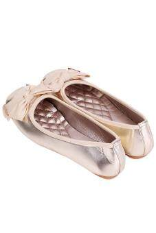 รองเท้าสตรีหญ้าคากุทัณฑ์แตะระดับ gomminoสี่เหลี่ยมแบนปลายรองเท้าทอง - 3
