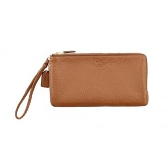 GPL/ COACH DOUBLE ZIP WALLET IN PEBBLE LEATHER - F54056/ship from USA - intl
