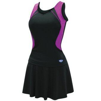 Grand sport ชุดว่ายน้ำหญิงแบบกระโปรง 2ท่อน (สีดำ-ม่วง)