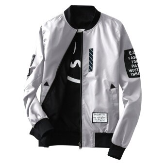 Grandwish Men Double-sided wear Jacket Bomber Jackets Letter printCoat M-4XL (Light grey) - intl