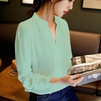 GX 2017 Fashion Casual Plus Size Women Blouse Ladies SolidElegantv-Neck Blouses Long Sleeve Ol Office Shirt (Green) - intl