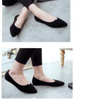 Hang-Qiao Flat Shoes Ladies Pointed Toe Casual Loafe (Black) - intl