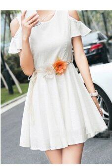 Hang-Qiao Women Bohemian Waist Chain Flower Rope Belt Beige +Orange