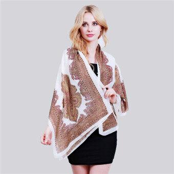HangQiao Bohemia Shawl National Style Cashew Paisley Printing BeachScarf (White) -