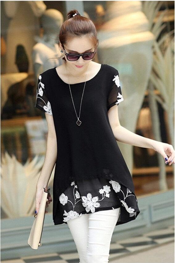 Hanyu เวอร์ชันเกาหลีชีฟองแขนสั้นปักเสื้อเชิ้ตสีดำ
