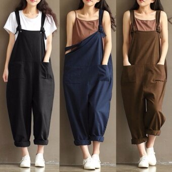 Hanyu Womens Casual Loose Strap Dungaree Jumpsuits Overalls Long Trousers Overalls Harem Pants (Coffee) - intl