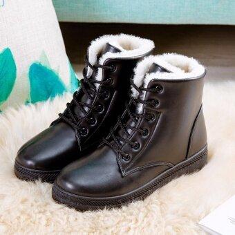 Hanyu Women's รองเท้าบูท Snow BOOTS Martin BOOTS รองเท้ากันแดด Ladis (สีดำขนาด 35)