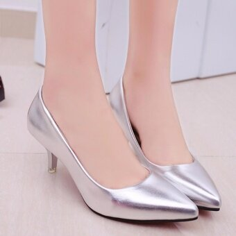 HengSong Korean Fashion Patent Leather Tip High Heels Shallow Mouth Shoes Occupation Women's Single Shoes Pumps (Sliver) - intl - 4
