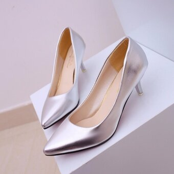 HengSong Korean Fashion Patent Leather Tip High Heels Shallow Mouth Shoes Occupation Women's Single Shoes Pumps (Sliver) - intl - 3