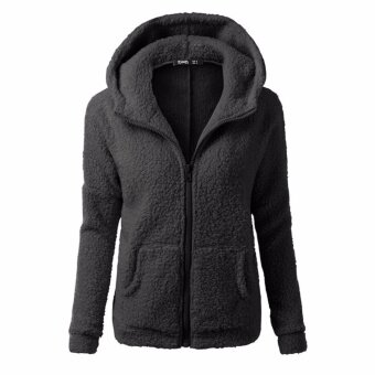 HengSong Women Fleece Long Sleeve Coat Hooded Hoodie Jacket Sweater Outwear Sweatshirt Black - intl