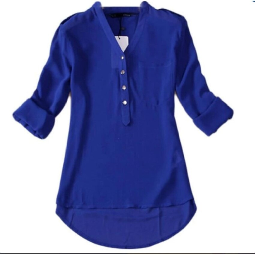 Hequ Long Sleeved Chiffon Shirt (Blue) - intl