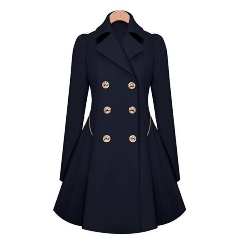 Hequ Women Trench Coat Korean Plus Size Lace Slim Double-Breasted Trench Coats Women Winter Outwear Clothing Navy - intl