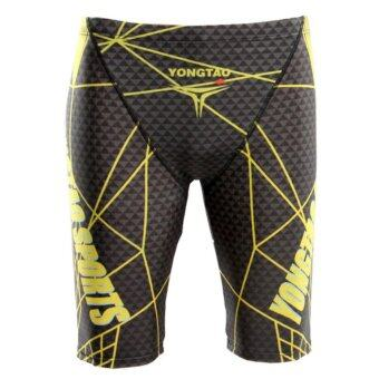 High Quality Drainage Line Professional Dry Fast Knee Length Men Swimming Trunks Man Swim Shorts(Yellow) - intl