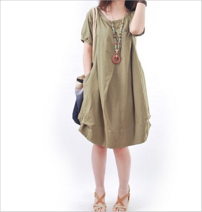 (High quality - fast delivery) new Korean women's short sleeve dress, large size, loose, casual, fold, round neck - intl