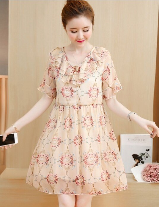 (High quality - fast delivery) new women's chiffon dress, primer shirt, Slim skirt, loose / was thin - intl