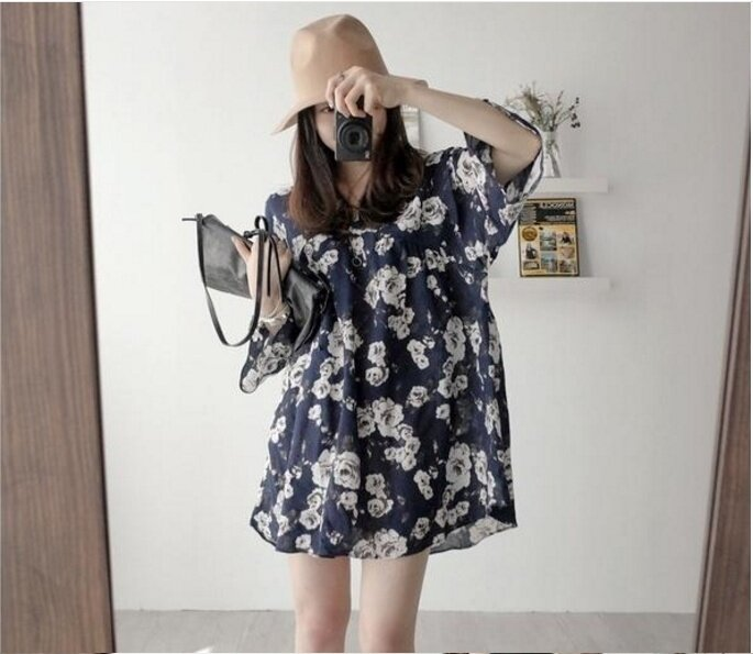 (High quality - fast delivery) new women's chiffon dress, self-cultivation, loose was thin - intl