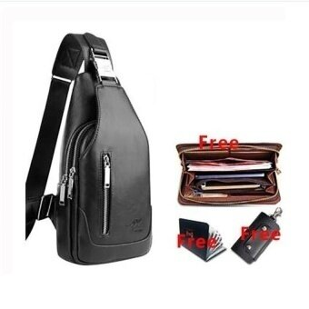 High Quality Mens Chest Bag Korean Leather Crossbody Messengerbagshoulder Chest Crossbody Sling Bag For Men (Black)(Overseas) - intl