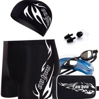 High Quality Men's swimming trunks Sexy Low-waist Straight boysSwimming suit Wear hat Color optional Five piece suit   - intl