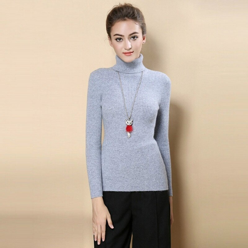 High Quality Women Sweater Autumn Turtleneck Pullover Winter Tops -Grey - intl