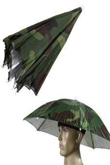 HKS Camo Umbrella Hat Cap Sun Shade Camping Fishing Brolly - intl