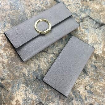 Hongniangzi สีดำเพศหญิงใหม่ JRCVSW รูปแบบผู้ถือบัตรกระเป๋าสตางค์ (สีเทา)