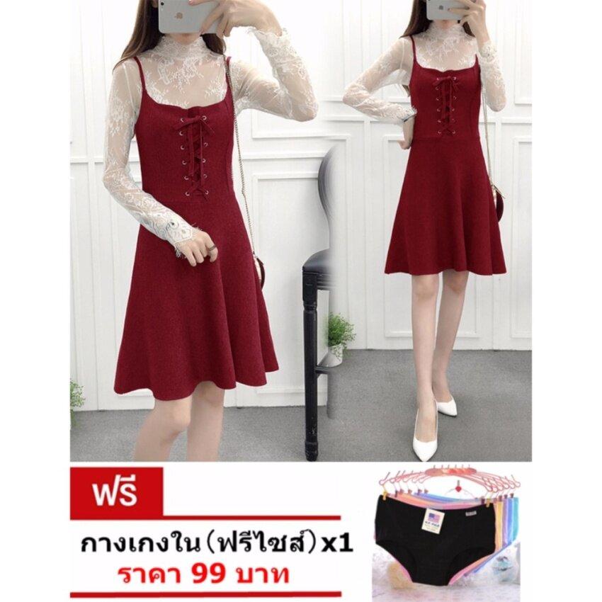 Hongstill เดรสสั้น เกาหลี ผ้าไหมพรมเนื้อทอแน่น เอี๊ยมกระโปรงแฟชั่นน่ารักๆ งานสวยผ้าดี ใส่แล้วดูดี D886(สีแดง)แถมฟรี กางเกงใน