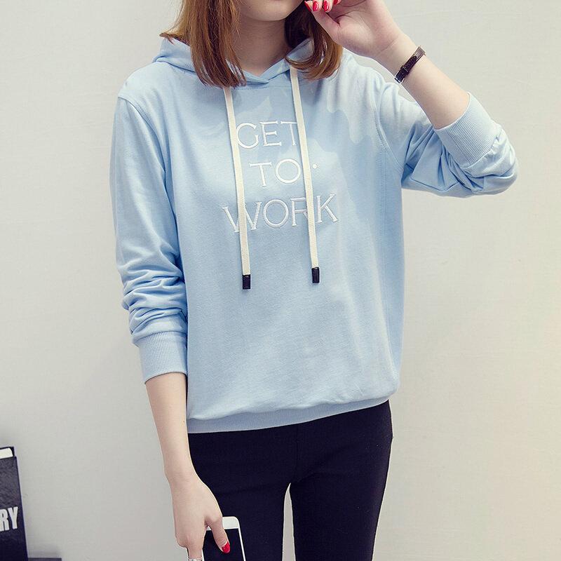 ฮาราจูกุวิทยาลัยหญิงตัวอักษรบางส่วน hoodies เสื้อกันหนาว (ท้องฟ้าสีฟ้า)
